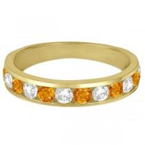 Channel-Set Citrine & Diamond Ring Band 14k Yellow Gold (1.20ct)