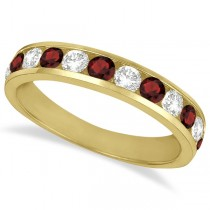 Channel-Set Garnet & Diamond Ring Band 14k Yellow Gold (1.20ct)