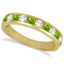 Channel-Set Peridot & Diamond Ring Band 14k Yellow Gold (1.20ct)