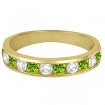 Channel-Set Peridot & Diamond Ring Band 14k Yellow Gold (1.20ct)