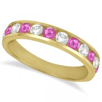 Channel-Set Pink Sapphire & Diamond Ring Band 14k Yellow Gold (1.20ct)