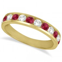 Channel-Set Ruby & Diamond Ring Band 14k Yellow Gold (1.20ctw)