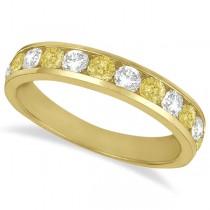 White & Yellow Diamond Channel-Set Ring 14k Yellow Gold (1.05ctw)