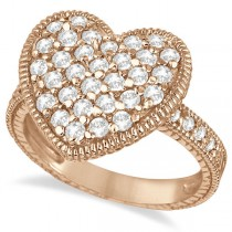 Puff Heart Diamond Ring 14k Rose Gold (1.00ct)
