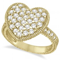 Puff Heart Diamond Ring 14k Yellow Gold (1.00ct)