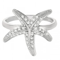 Diamond Starfish Ring 14k White Gold (0.34ct)|escape