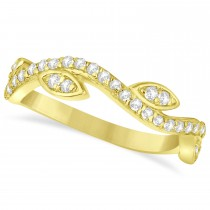 Diamond Marquise Shape Vine Leaf Ring Band 14k Yellow Gold (0.36ct)