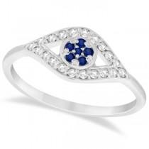 Evil Eye Diamond & Blue Sapphire Ring in 14k White Gold (0.22ct)
