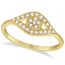 Traditional Evil Eye Diamond Ring Pave Set in 14k Yellow Gold (0.20ct)
