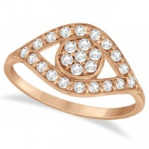 Traditional Evil Eye Diamond Ring Pave Set in 14k Rose Gold (0.50ct)