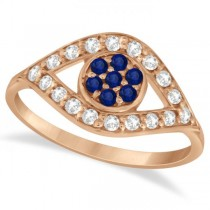 Evil Eye Diamond & Blue Sapphire Ring in 14k Rose Gold (0.54ct)