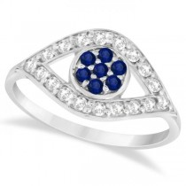 Evil Eye Diamond & Blue Sapphire Ring in 14k White Gold (0.54ct)