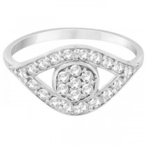 Traditional Evil Eye Diamond Ring Pave Set in 14k White Gold (0.50ct)