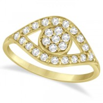 Traditional Evil Eye Diamond Ring Pave Set in 14k Yellow Gold (0.50ct)