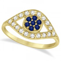 Evil Eye Diamond & Blue Sapphire Ring in 14k Yellow Gold (0.54ct)
