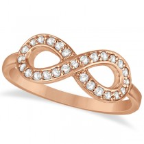 Pave Set Diamond Infinity Loop Ring in 14k Rose Gold (0.25 ct)
