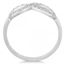 Pave Set Diamond Infinity Loop Ring in 14k White Gold (0.25 ct)|escape