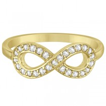 Pave Set Diamond Infinity Loop Ring in 14k Yellow Gold (0.25 ct)