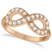 Twisted Diamond Infinity Ring Pave Set in 14k Rose Gold (0.50ct)