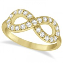 Twisted Diamond Infinity Ring Pave Set in 14k Yellow Gold (0.50ct)