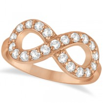 Pave Set Diamond Infinity Loop Ring in 14k Rose Gold (0.65 ct)