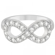 Pave Set Diamond Infinity Loop Ring in 14k White Gold (0.65 ct)
