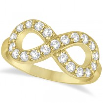 Pave Set Diamond Infinity Loop Ring in 14k Yellow Gold (0.65 ct)