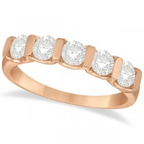 Bar-Set Five Stone Diamond Ring Anniversary Band 14k Rose Gold 1.00ct