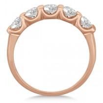 Bar-Set Five Stone Diamond Ring Anniversary Band 14k Rose Gold 1.00ct|escape