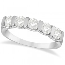 Bar-Set Five Stone Diamond Ring Anniversary Band 14k White Gold 1.00ct