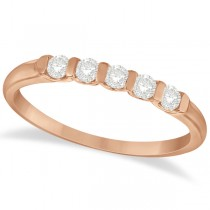 Bar-Set Five Stone Diamond Ring Anniversary Band 14k Rose Gold 0.25ct