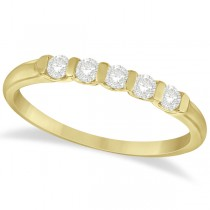 Bar-Set 5 Stone Diamond Ring Anniversary Band 14k Yellow Gold 0.25ct