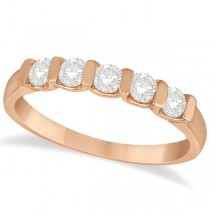 Bar-Set Five Stone Diamond Ring Anniversary Band 14k Rose Gold 0.50ct