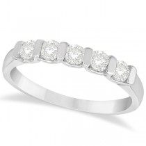 Bar-Set Five Stone Diamond Ring Anniversary Band 14k White Gold 0.50ct