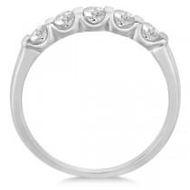 Bar-Set Five Stone Diamond Ring Anniversary Band 14k White Gold 0.50ct