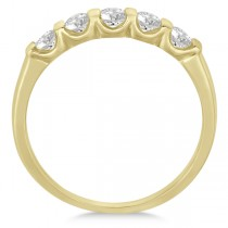 Bar-Set 5 Stone Diamond Ring Anniversary Band 14k Yellow Gold 0.50ct