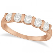 Bar-Set Five Stone Diamond Ring Anniversary Band 14k Rose Gold 0.75ct
