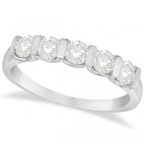 Bar-Set Five Stone Diamond Ring Anniversary Band 14k White Gold 0.75ct