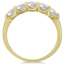 Bar-Set 5 Stone Diamond Ring Anniversary Band 14k Yellow Gold 0.75ct