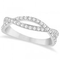 Pave Set Diamond Twisted Infinity Band in 14k White Gold (0.32 carat)