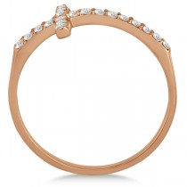 Modern Sideways Diamond Cross Fashion Ring in 14k Rose Gold (0.20ct)
