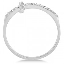 Modern Sideways Diamond Cross Fashion Ring in 14k White Gold (0.20ct)|escape