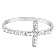 Modern Sideways Diamond Cross Fashion Ring in 14k White Gold (0.20ct)