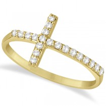 Modern Sideways Diamond Cross Fashion Ring in 14k Yellow Gold (0.20ct)