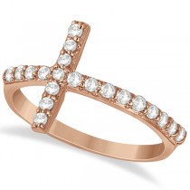 Modern Sideways Diamond Cross Fashion Ring in 14k Rose Gold (0.42ct)
