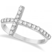 Modern Sideways Diamond Cross Fashion Ring in 14k White Gold (0.42ct)
