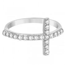 Modern Sideways Diamond Cross Fashion Ring in 14k White Gold (0.42ct)
