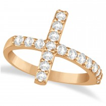 Modern Sideways Diamond Cross Fashion Ring 14k Rose Gold (0.75ct)