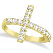 Modern Sideways Diamond Cross Fashion Ring 14k Yellow Gold (0.75ct)