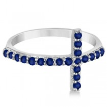 Modern Sideways Blue Sapphire Cross Fashion Ring in 14k White Gold (0.42ct)